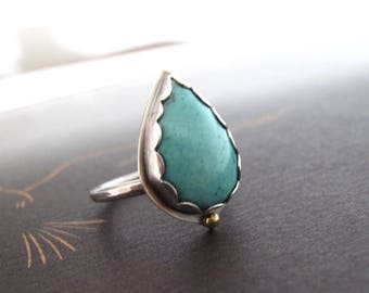 Turquoise Ring handcrafted in sterling silver & 18k gold Boho Statement Ring
