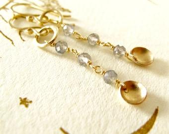 14k solid gold earrings & labradorite gemstones - long dangles organic matte finish handcrafted by modernbird