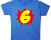 Superhero Sixth Birthday Shirt 6th birthday shirt Six boy birthday shirt girls birthday shirt Superhero 6th Birthday Shirt Boys Birthday