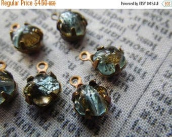 SALE 20% Off Mossy Green and Silver Vintage Lampworked Opal Square Octagon 6x6mm Glass Brass Ox Drops One Loop 6 Pcs