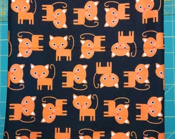 Lined, Orange cats on black, zippered pouch. 10x13 inch. New and ready for your goodies.