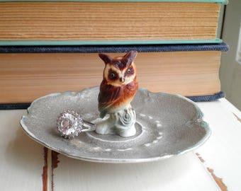 Vintage Ceramic Owl Silver Ring Plate / Jewelry Dish - Shabby Woodland Owl Trinket Plate - Forest Animal Jewelry Storage Owl Home Decor Gift
