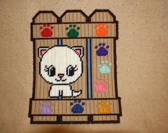 Kitten fence wall hanging