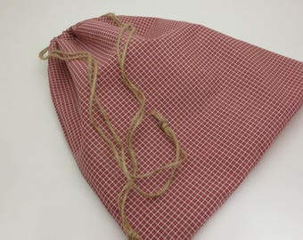 Handmade Reusable Cloth Country Red Gift or Grain Bag - Large