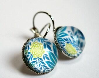 Earrings, blue Peony BO316A