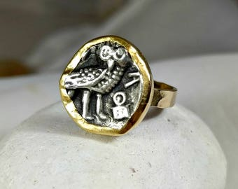 RESERVED FOR REBECCA .Gold Ancient Coin Ring, Statement Ring, Ancient Coin Jewelry, solid 18 kt  gold ring,  Athena Owl coin ring