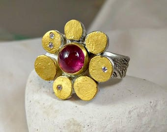 RESERVED FOR D Tourmaline and 24 kt gold flower ring, statement ring, tourmaline, Diamond,  gemstone and gold ring, multi stone ring