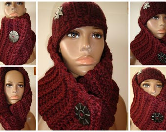 Cowl Scarf Crocheted - Neckwarmer - Scarf- Cowl- matching hat- MultiScarf - Maroon