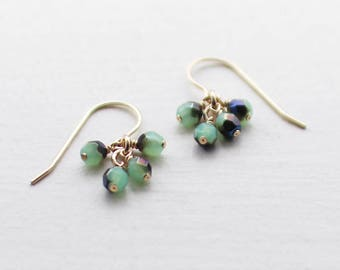 "14k goldfill earrings - ""lucky"" faceted earrings in blue and green - handmade by elephantine"