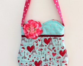 Paris Love purse, girls purse, toddler purse,