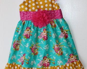 Flowers and dots, toddler dress, girls dress, boutique dress, fancy dress, custom dress, party dress, 1t 2t 2t 4t 5 6