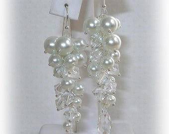 ON SALE 20% OFF Column Earrings in White With Clear Crystals