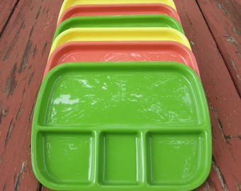 Six Vintage Plastic Lunch Trays - Packer Ware Kids Meal Trays - Set of Six Trays