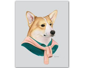 Corgi Dog art print by Ryan Berkley 8x10