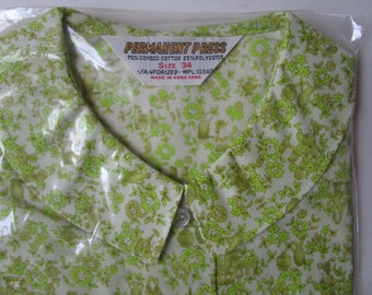 sz 34 NIP Peter Pan 60s Sanforized Cotton Ditsy Print Boxy Blouse Top Hong Kong