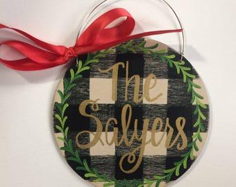 Buffalo plaid ornament - buffalo check ornament - personalized ornament - wreath - name on ornament - hostess gift - family ornament - black