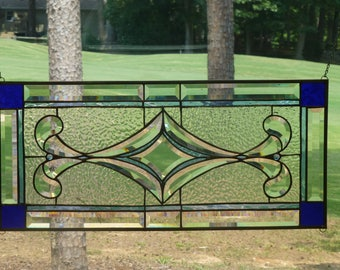 2 Blue Tone and Clear Stained Glass Beveled panel
