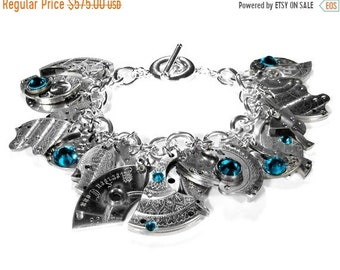Steampunk Jewelry Bracelet Sterling Silver Watch Parts Dangle ETCHED Turquoise Crystal STEAMPUNK STYLE Book Holiday Gift Women -  edmdesigns