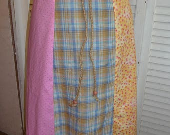 Vintage Fabric, Handmade Skirt, Paneled Skirt, Gored Skirt, Long Skirt, Unique Clothing, Recycled Vintage Fabric, Drawstring Waist, Beads