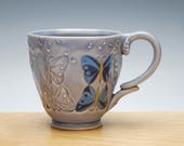 Butterfly mug in Periwinkle gloss w. colorized detail, Victorian modern cup