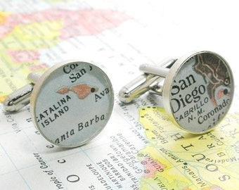 SUMMER SALE UpCycled Custom Vintage Map Sterling Silver Round Cufflinks. You Select the Journey.