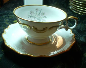 Antique Single Cup & Saucer Set SCHUMANN Germany GOLDEN GLOW China Excellent Condition Very Rare