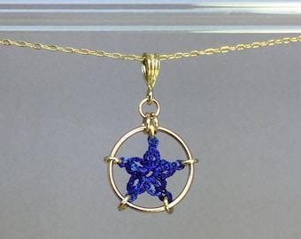 Stars, blue silk necklace, 14K gold-filled