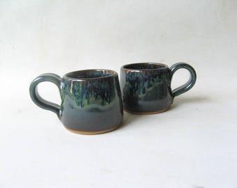Espresso Cups Set of 2, Set of Demitasse, Stoneware Espresso Cups, Ceramic Espresso Cups