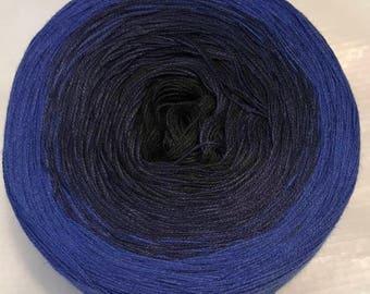light fingering 3-ply gradient tied cotton 100g Black Lace v.1