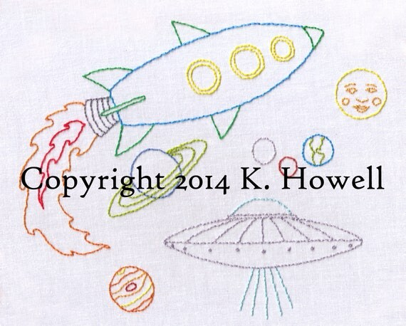 Space hand embroidery pattern astronaut ufo planets for Space embroidery patterns