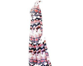 Summer Sale Vintage 70s Tribal Printed Maxi Dress// Red White Black Floor Length Dress// 132