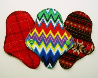 """Set/3 x 6"""" Cotton Flannel Thong Panty Liners, Red Brown Blue Green, Cloth Menstrual Pads, Incontinence Liners, Menstrual Cup Diva Cup Backup"""
