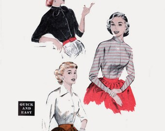 Vintage 1950s Quick & Easy Wing-Sleeved Blouses Sewing Pattern Butterick 6649 50s Rockabilly Pattern 18 Bust 36
