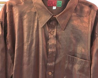 Metallic Men's Shirt Copper  Size XL Vintage 80s