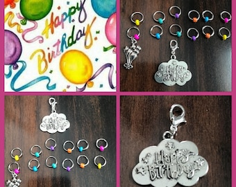 Happy Birthday Large Stitch Marker Set, Progress Keeper, ring markers, knitting supplies, Balloons, Clip on Charm, stitchmarkers, gift