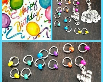 Happy Birthday Small Stitch Marker Set, Progress Keeper, ring markers, knitting supplies, Balloons, Clip on Charm, stitchmarkers, gift