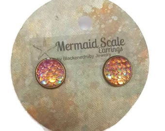 Mermaid Scale Earrings - Sunrise
