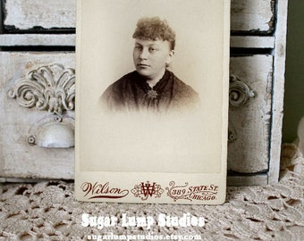 Chicago Lady cabinet card vintage photo,antique photo,cabinet card,unknown relatives,old photographs,collage art,