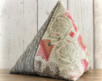 Fabric Doorstop, Doorstopper in Red & Brown Tapestry Fabric, Triangular, Pyramid Shape