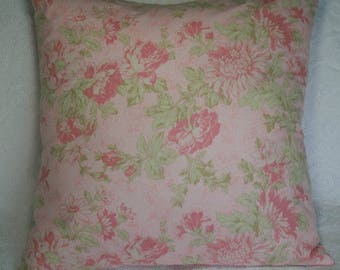 "20x20 Inch Pillow Cover 20"" Throw Pillow Cover Large Pink Flowers Beach House Romantic Cottage Accent Pillow Cushion Cover (#41**)"