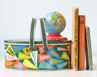 Vintage School Pennant Pail, Ohio Art College Tin