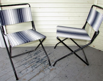 2 Folding Metal Chairs Vintage 1950u0027s Metal Lawn Camping Glamping Fishing  Beach Deck Patio Chair Bistro