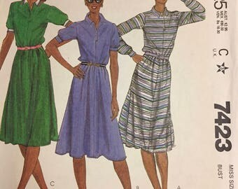 Vintage  Misses' Shirt Dress Sewing Pattern McCall's 7423 Size 12 Bust 34 inches Uncut  Complete