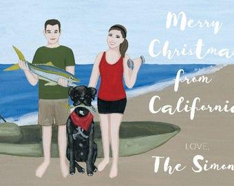 Custom Christmas Cards - Custom Christmas Portrait - Custom Family Portrait - Personalized Christmas Card - Palm Trees Beachy Holiday Card
