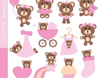 35% OFF SALE Cute Pink Brown Teddy Bear Clipart - Baby Girl Teddy Bear clip art - Commercial use, instant download