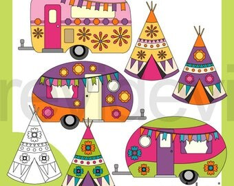 Happy Spring Camper Clipart RV Caravan Clip Art Teepee Tent Download Retro Graphics