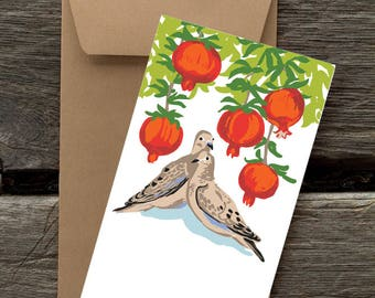 Doves and Pomegranates-- 8 Blank flat cards and envelopes