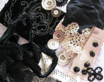 Screaming Mimi...Lot of Antique Trims, Lace, & Old Buttons