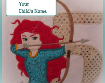 Custom Children Merida Brave Boutique  Birthday Shirt Personalized