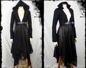 The Mage Black Hooded Jacket, Size Small to Medium - Ready to Ship - Gothic Coat Sorceress Occult Cosplay Raider